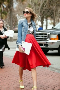 red skirt cute pregnant girl charleston fashion week 2014 womens southern fashion street style red lips